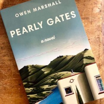 Hamish Allan painting- book cover for Owen Marshall's 2019 novel Pearly Gates